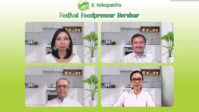 Para pembicara pada event Virtual Press Conference Sunlight Festival Foodpreneur Bersinar